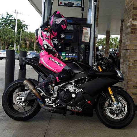 motorcycles-and-more: Biker girl on Aprilia RSV4