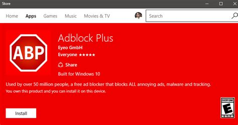 Install Adblock and Adblock Plus From Windows 10 Store for