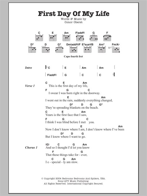 First Day Of My Life Sheet Music   Bright Eyes   Guitar